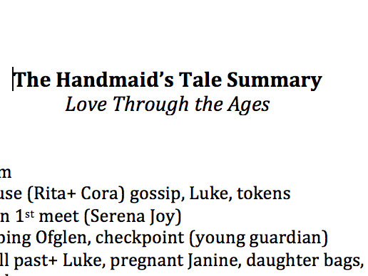 The Handmaids Tale Brief Sentence Summary of Each Chapter