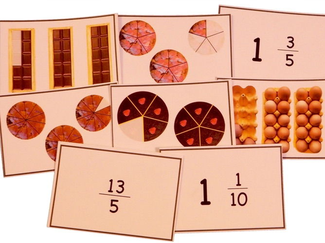 Improper fractions matching game, set 2