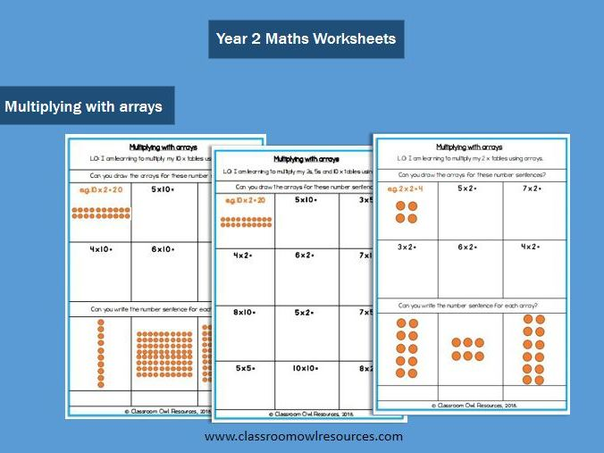 Year 2 Maths: Multiplying with arrays (differentiated worksheets)