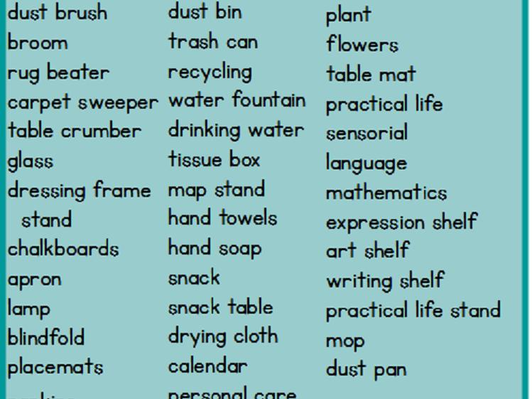 Montessori Classroom Labels - Set 2