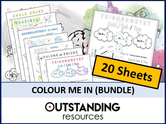 Colour Me in Sheets or Doodle Notes BUNDLE (20 Sheets)