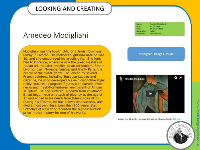 Amedeo Modigliani.  Looking and Creating: activities inspired by artists.