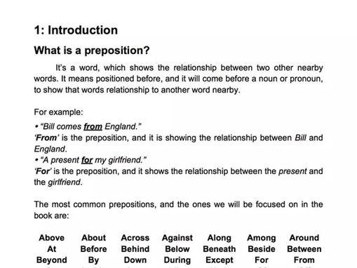 ESL Prepositions Guide Book