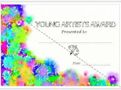 Young Artist Award Certiricate