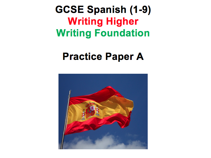 Spanish GCSE 1-9 Writing Practice Paper AQA Higher and Foundation Paper A