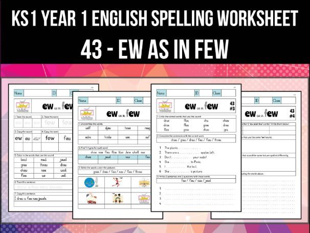 Spelling & Phonics Worksheet - uː sound spelled EW