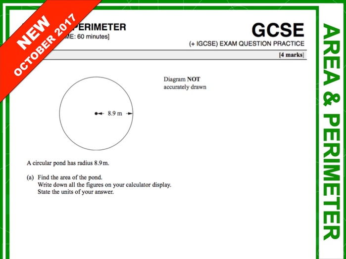 GCSE 9-1 Exam Question Practice (Area and Perimeter)