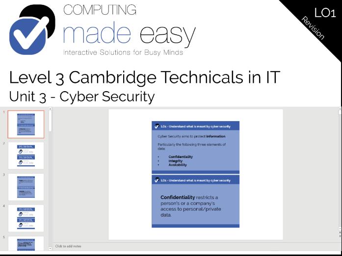 Cambridge Technicals IT Level 3 - Unit 3 LO1 Revision Cards