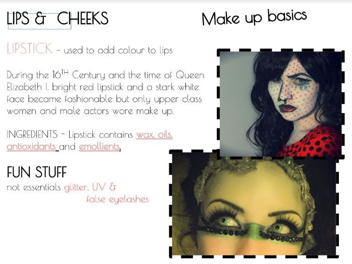 Theatrical & Media Make-up | Introduction to basic products - PP Powerpoint with teachers notes