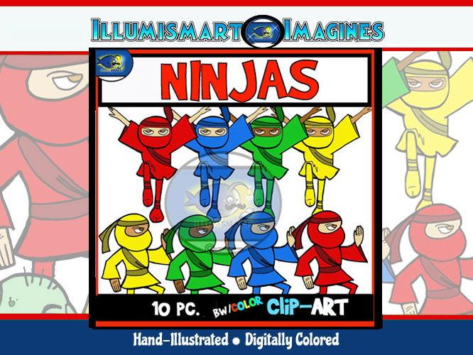 Ninjas Clip-Art Set-2 B&W, 8Color