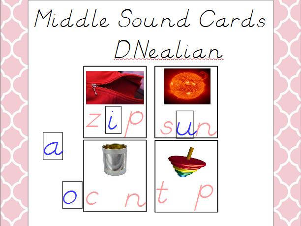 Middle Vowel Sounds Cards - D'Nealian