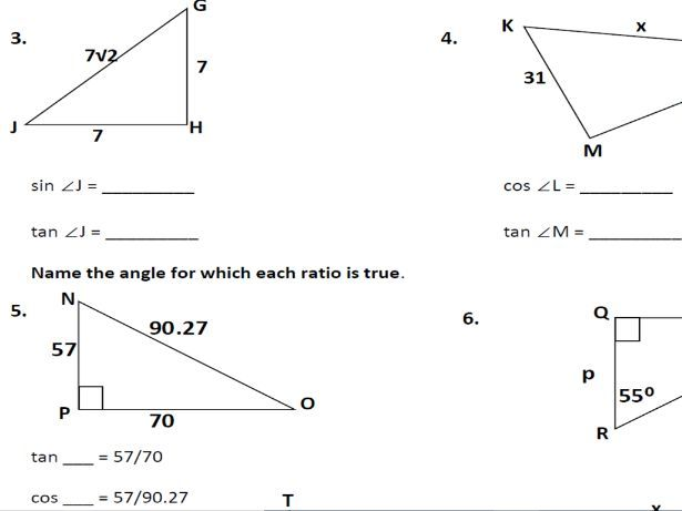 Trigonometric functions basic practice and solving right triangles