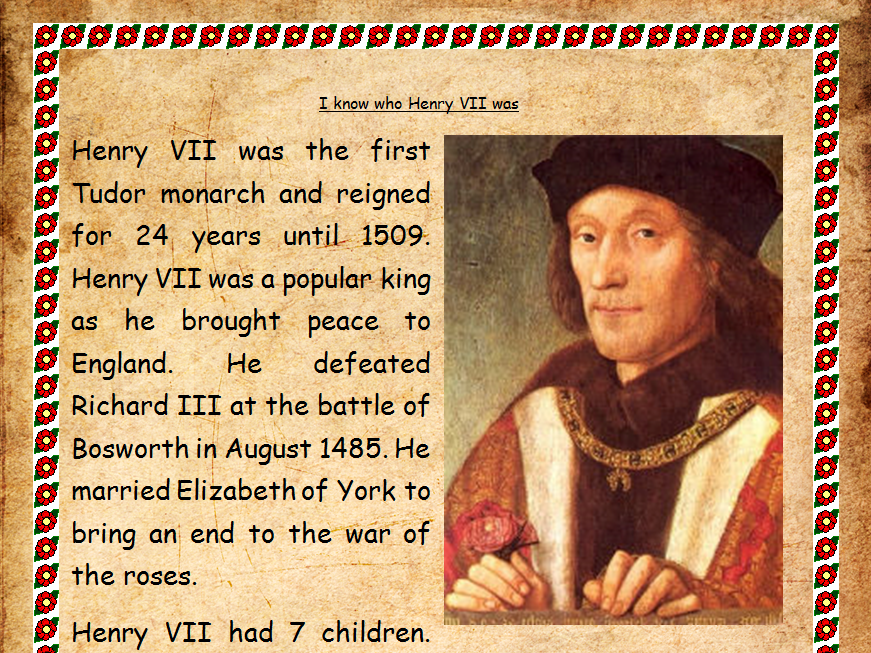 Henry Tudor Henry VII 7th Comprehension