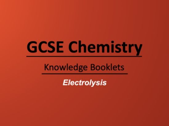 Electrolysis Knowledge Booklet