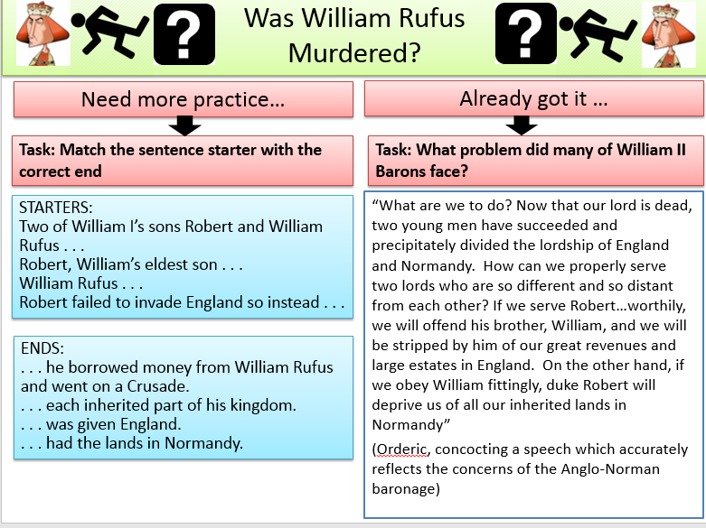William Rufus - Was he murdered - lots of tasks.