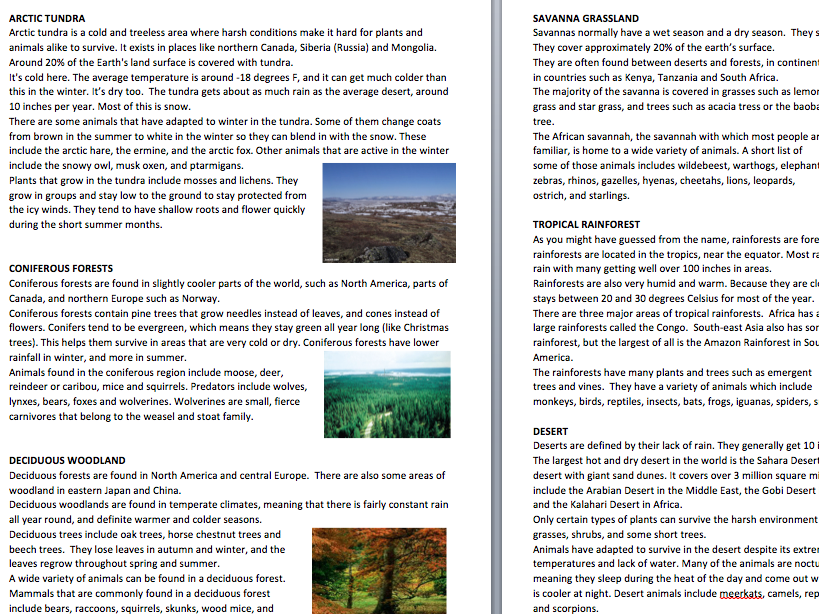 Global biomes summaries and worksheet task