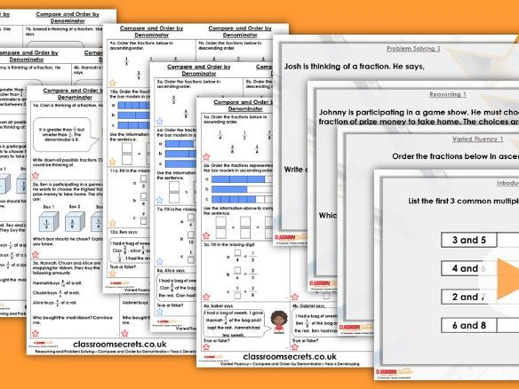 Year 6 Compare and Order by Denominator Autumn Block 3 Step 3 Lesson Pack