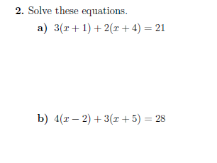Solving equations worksheets (with solutions)