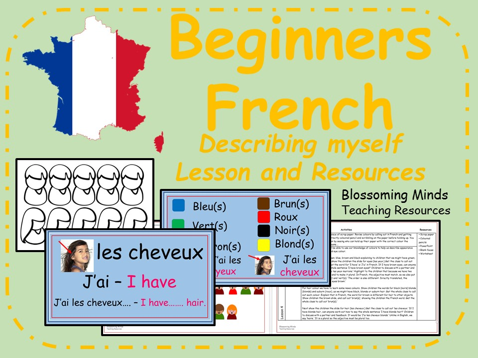 French lesson and resources - Describing myself