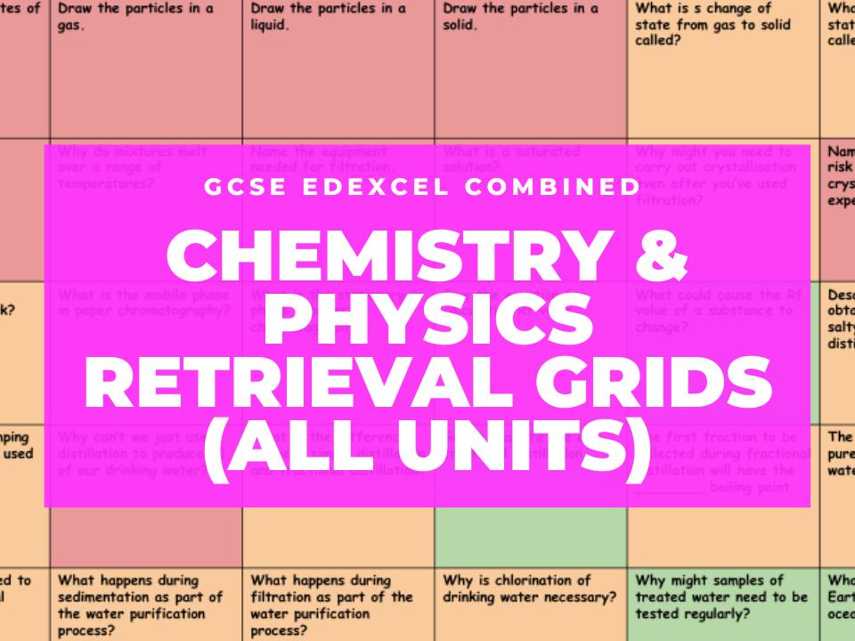 GCSE Edexcel Chemistry & Physics Retrieval Grids (ALL UNITS)