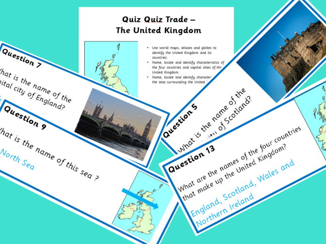 United Kingdom Quiz Quiz Trade cards and presentation
