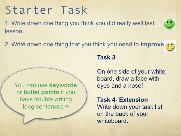 Assessment for learning tasks powerpoint
