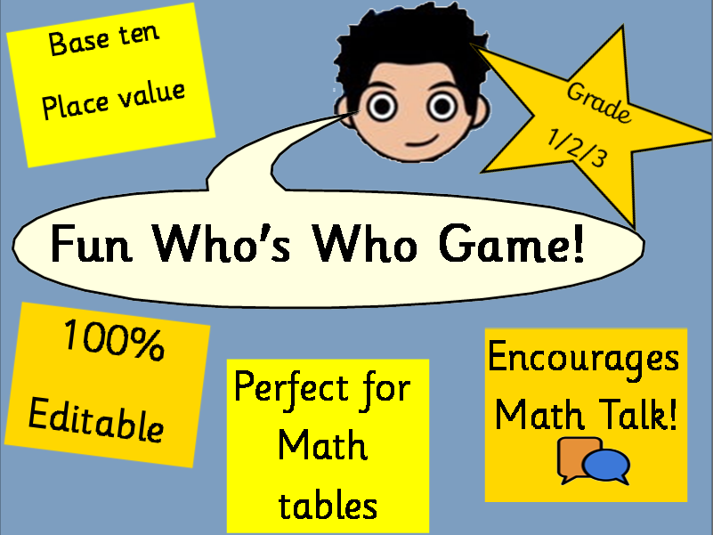 Fun Maths Guess who game  KS1  KS2  base ten place value counters editable
