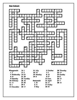 Datum (Date in German) Crossword