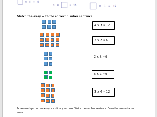Introduction to arrays for multiplication