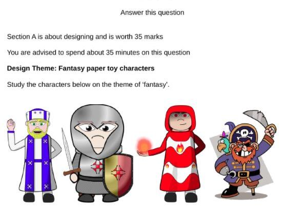 "AQA Graphic Products section A practice 2018 theme ""Fantasy Paper Toy Characters"" set of three papers"