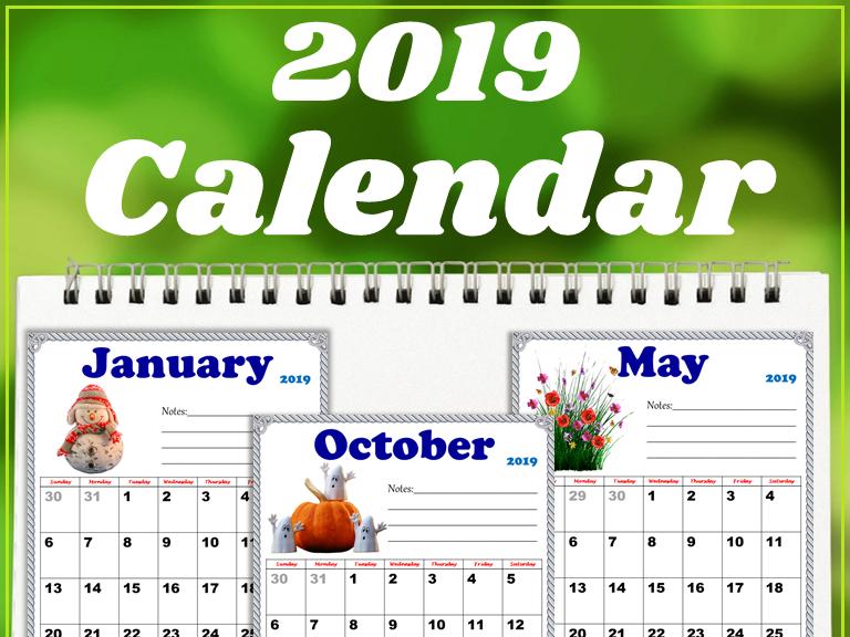 2019 Calendar (Editable)