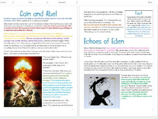 Genesis: Cain and Abel: Differentiated Information and Activity Sheets