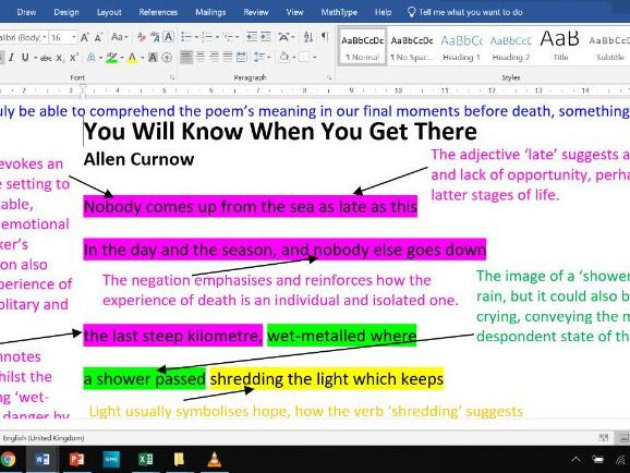 You Will Know When You Get There - Fully Annotated Poem CIE