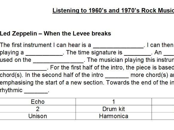 NEW GCSE AQA MUSIC 9-1 First listen to Rock Music sheet