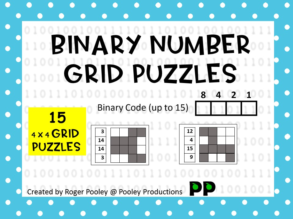 Binary Number Grid Puzzles - 4 x 4 grids