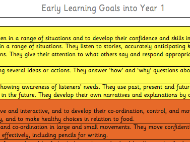 Early Learning Goals into Year 1