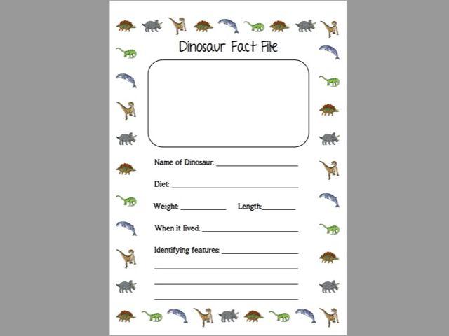 Dinosaur Fact File Activity