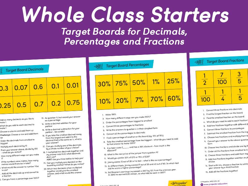 Decimals, Percentages & Fractions Target Boards