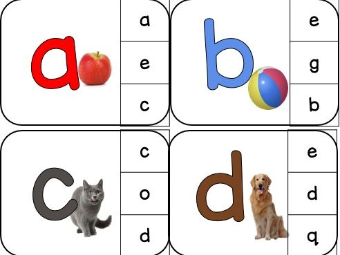 Lowercase matching alphabet clip cards