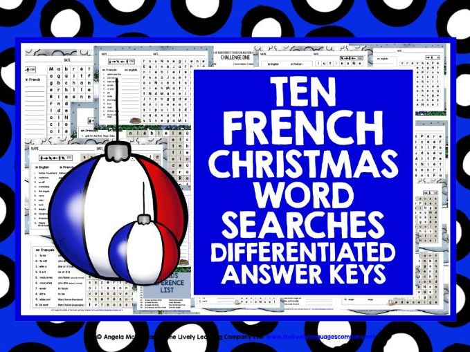 CHRISTMAS: PRIMARY FRENCH CHRISTMAS WORD SEARCHES