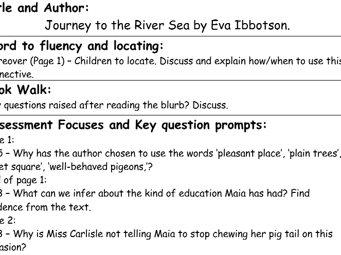 Guided Reading Planning - Linked to Journey to the River Sea by Eva Ibbotson