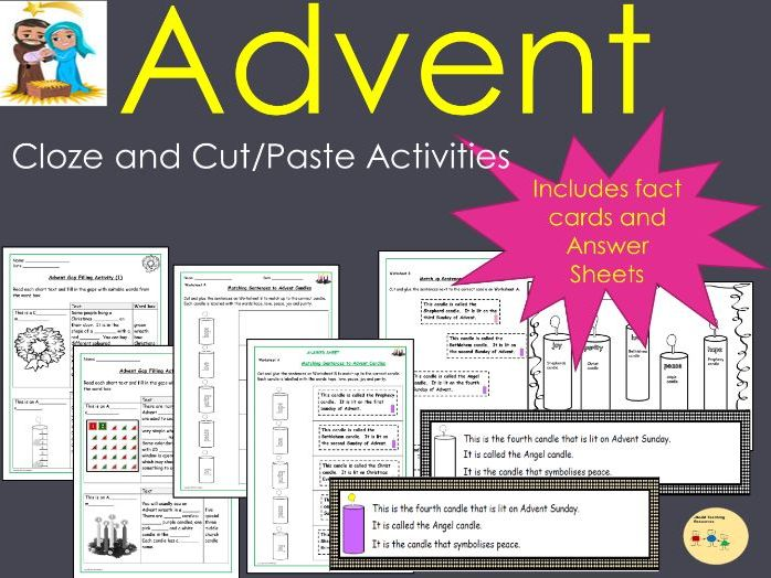 Advent Worksheets Gap filling and Cut and Glue/Stick Activities