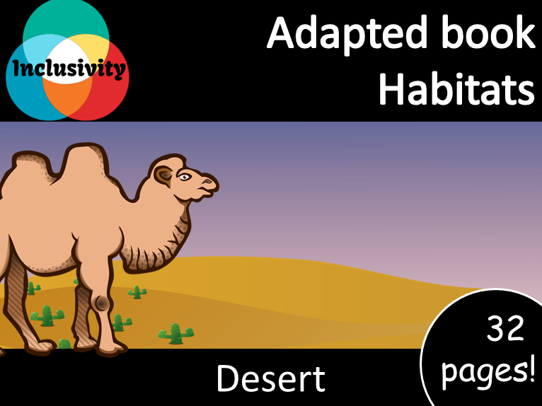 Adapted book habitat Desert level 1, 2 and 3; matching activity and animal sort