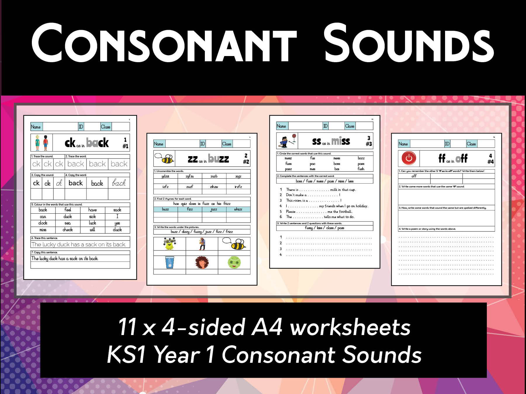ks1 year 1 consonants spelling phonics worksheets by abteachingmaterials teaching resources. Black Bedroom Furniture Sets. Home Design Ideas