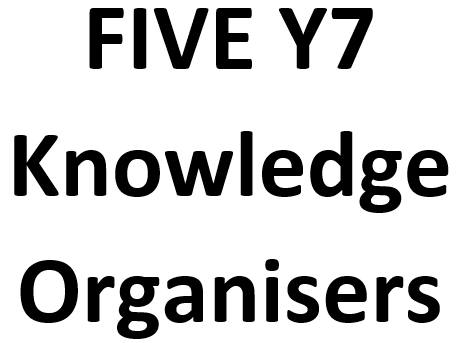 BUNDLE of five Y7 Knowledge Organisers (KOs)