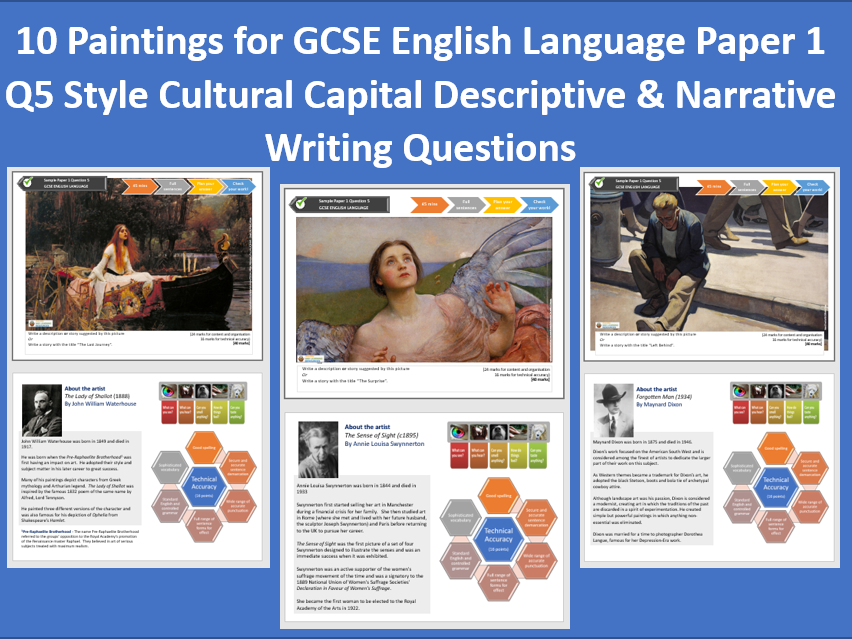 10 Paintings with GCSE English Lang P1Q5 Cultural Capital Descriptive & Narrative Writing  Questions