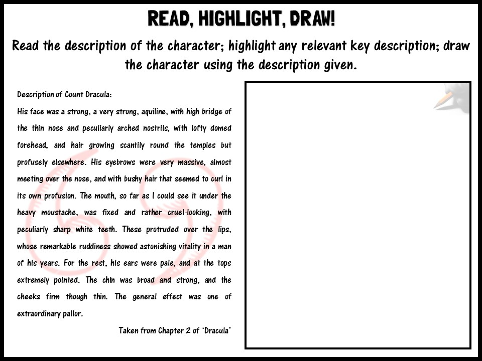 Read, highlight, draw! Count Dracula