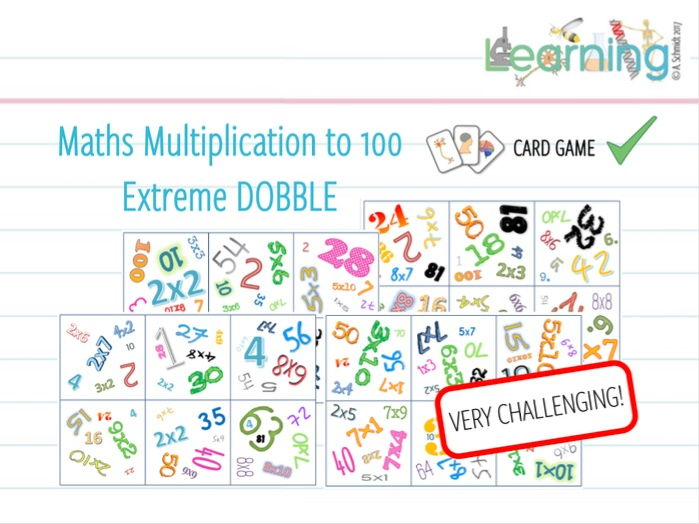 Maths Multiplication to 100 - EXTREME DOBBLE GAME