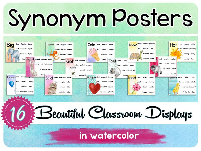 Synonym Posters - WOW Words - Vocabulary Boosters
