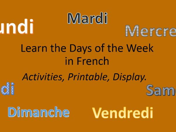Learn French Days of the Week